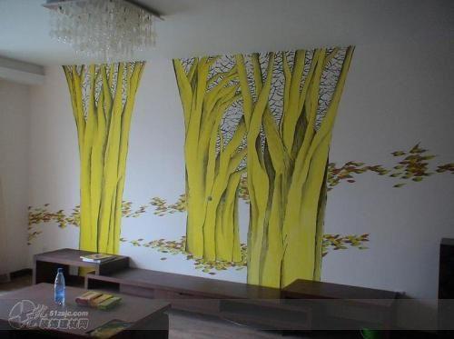 客厅电视墙 青岛702墙绘工作室作品